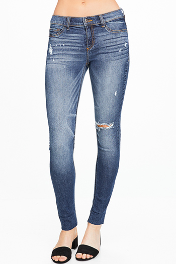 $25 - Cute cheap blue denim fitted jeans - Dark blue washed denim mid rise distressed cutoff hem fitted skinny jeans