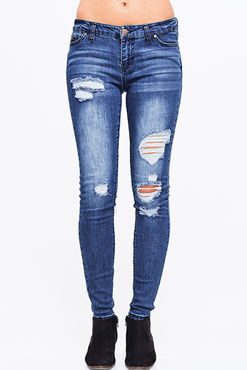$20 - Cute cheap navy blue washed denim mid rise distressed frayed sculpt skinny jeans - Dark blue washed denim mid rise distressed ripped fitted skinny jeans