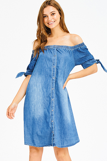 $20 - Cute cheap blue washed denim mid rise distressed frayed ripped skinny fit jeans - dark blue washed denim off shoulder tie sleeve button up boho shift mini dress