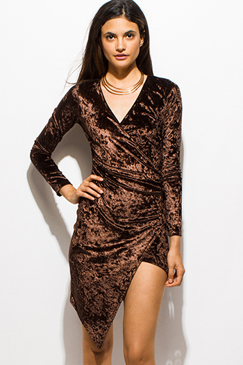 $15 - Cute cheap draped backless dress - dark brown velvet V neck slit front long sleeve fitted faux wrap asymmetrical hem cocktail sexy party mini dress