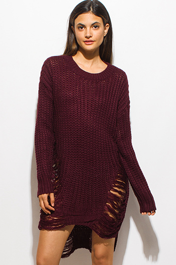 $30 - Cute cheap ruffle sun dress - dark burgundy red crochet waffle knit  long sleeve destroyed shredded midi sweater dress