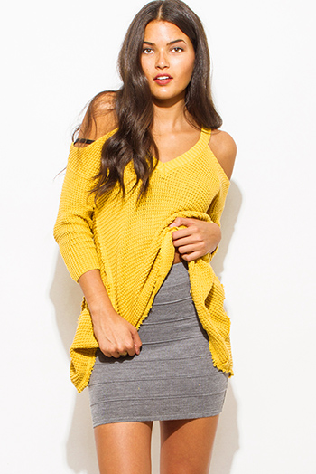 $10 - Cute cheap charcoal gray ribbed knit bandage bodycon fitted sexy club mini skirt