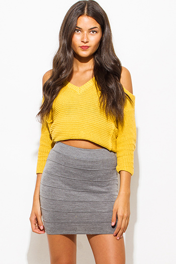 $10 - Cute cheap olive green charcoal gray fuzzy stripe boat neck long sleeve sweater knit top - charcoal gray ribbed knit bandage bodycon fitted sexy club mini skirt