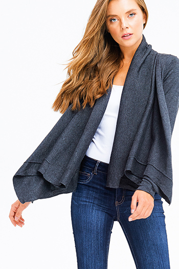 $20 - Cute cheap charcoal gray pinstripe off shoulder ruffle tiered sleeve boho blouse top - dark charcoal grey knit long sleeve draped collar open front boho cardigan top