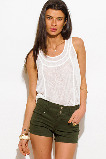 $15 - Cute cheap olive green tencel pocketed buttoned waisted tie lounge cargo shorts - dark hunter green denim high waisted double button jean shorts
