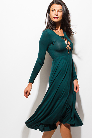 $15 - Cute cheap ruffle boho sun dress - dark hunter green long sleeve laceup v neck a line skater boho midi dress