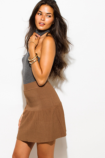 $15 - Cute cheap ribbed fitted bandage skirt - dark mocha brown solid banded high waisted fitted mini skater skirt