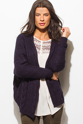 $15 - Cute cheap navy blue romper - dark navy blue cable knit long sleeve open front sweater knit cardigan top