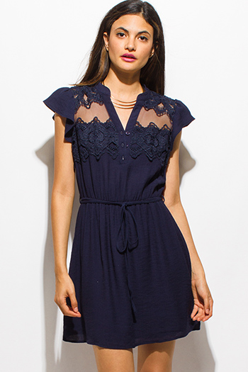 $20 - Cute cheap backless slit sun dress - dark navy blue cap sleeve see through mesh crochet lace panel tie waist boho mini sun dress