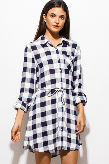 $20 - Cute cheap backless bell sleeve open back mini dress - dark navy blue checker plaid print long sleeve tie waist button up boho mini shirt dress