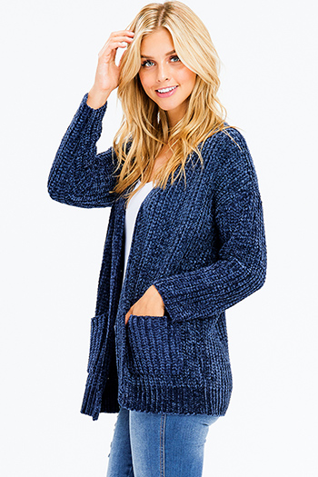 $20 - Cute cheap long sleeve crop top - dark navy blue chenille fuzzy knit long sleeve open front pocketed boho cardigan jacket