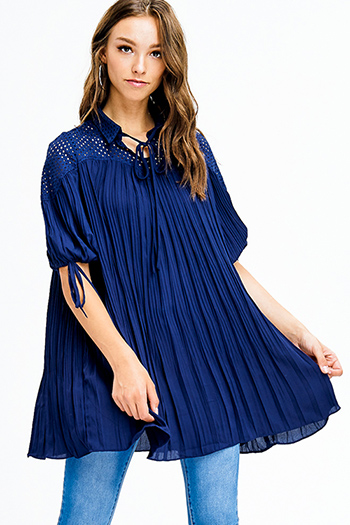 $15 - Cute cheap blue washed denim mid rise distressed frayed ripped skinny fit jeans - dark navy blue cotton blend pleated short bubble sleeve crochet panel shift tunic top mini dress