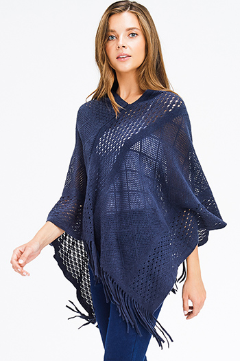 $15 - Cute cheap blue washed denim mid rise destroyed ripped skinny jeans - dark navy blue crochet knit asymmetrical fringe trim shawl poncho sweater knit jacket