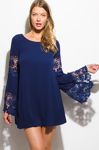 $15 - Cute cheap blue evening dress - dark navy blue crochet lace trim bell sleeve cocktail sexy party boho shift mini dress