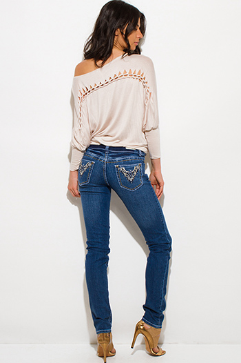 $15 - Cute cheap blue skinny pants - dark navy blue distressed embroidered bejeweled fitted mid rise skinny jeans
