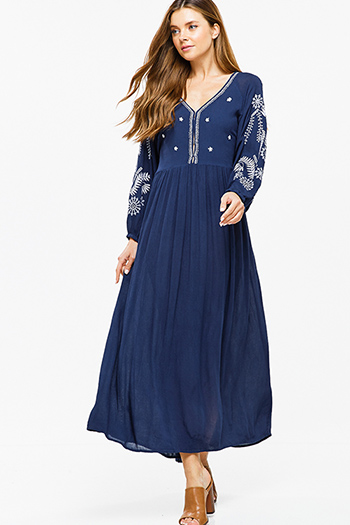 $40 - Cute cheap pocketed long sleeve dress - Dark navy blue embroidered v neck tie waist keyhole back boho peasant maxi dress