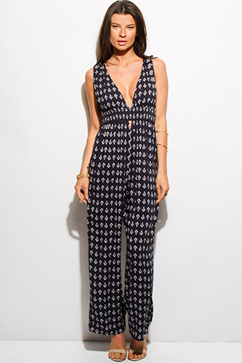 $20 - Cute cheap v neck fitted bodycon jumpsuit - dark navy blue ethnic print low v neck cut out sleeveless boho evening wide leg jumpsuit