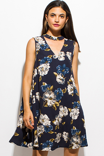 $15 - Cute cheap draped open back dress - dark navy blue floral print choker mock neck cut out boho shift mini dress