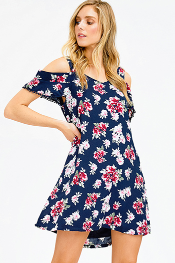 $15 - Cute cheap blue backless sun dress - dark navy blue floral print cold shoulder crochet trim boho shift mini sun dress