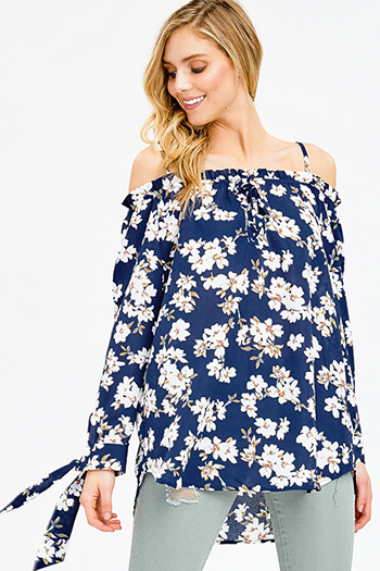 $12 - Cute cheap blue tunic - dark navy blue floral print long sleeve cold shoulder tie sleeve boho blouse top