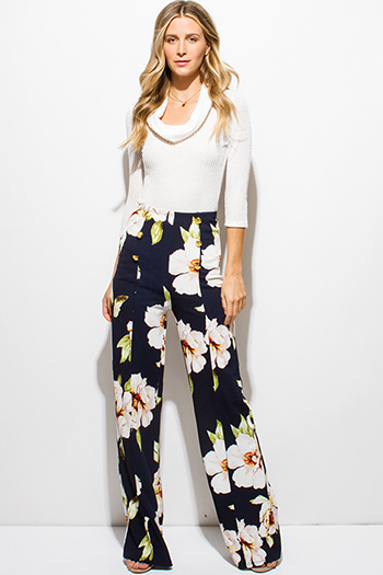 $15 - Cute cheap dark navy blue floral print textured golden button high waisted boho wide leg pants