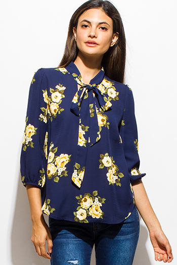 $15 - Cute cheap gauze blouse - dark navy blue floral print tie neck quarter sleeve boho blouse top