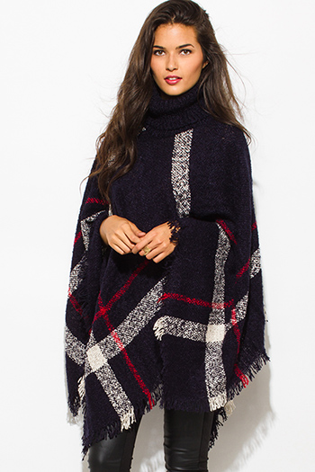 $25 - Cute cheap mocha taupe brown sweater knit fringe trim faux fur lined hooded boho poncho top - dark navy blue giant checker plaid fuzzy boho knit poncho sweater jacket tunic top