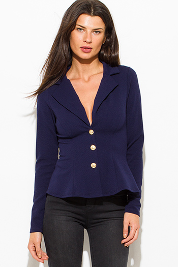 $15 - Cute cheap dark blue denim high waisted button up boho midi skirt - dark navy blue golden button long sleeve fitted peplum blazer jacket top