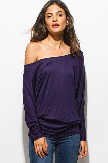$15 - Cute cheap dark navy blue long dolman sleeve ruched off shoulder boho tunic tee top