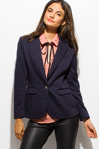 $15 - Cute cheap print boho blazer - dark navy blue long sleeve single button padded shoulder blazer jacket