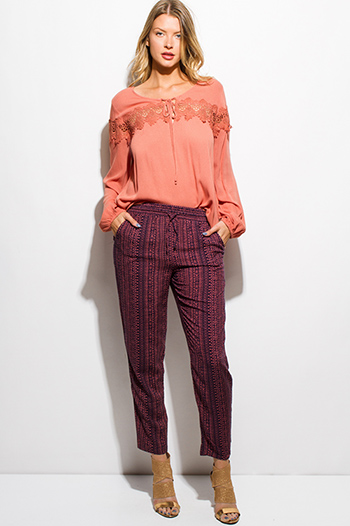 $15 - Cute cheap cotton boho crochet pants - dark navy blue mauve pink ethnic print pocketed tie waist boho resort harem pants