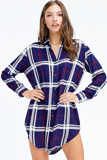 $15 - Cute cheap strapless ruffle dress - dark navy blue plaid long sleeve button up tunic top mini shirt dress
