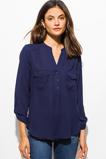 $15 - Cute cheap satin asymmetrical blouse - dark navy blue quarter sleeve collarless button up blouse top