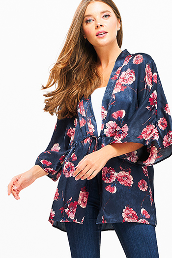 $15 - Cute cheap black pinstripe collarless short cuffed cap sleeve zip up blouse top - Dark navy blue silk floral print short sleeve tie waist boho kimono top