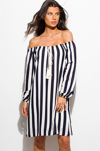 $15 - Cute cheap chiffon off shoulder boho sun dress - dark navy blue striped off shoulder long sleeve tasseled nautical boho midi dress