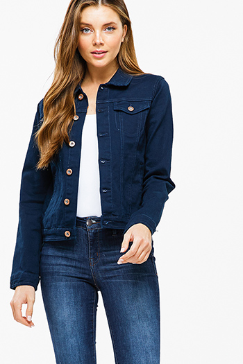 $25 - Cute cheap dark blue washed denim low rise fringe trim ankle fitted skinny jeans - Dark navy blue twill denim long sleeve button up pocketed jean jacket