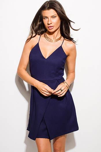 $15 - Cute cheap one shoulder bejeweled bow tie satin cocktail sexy party mini dress - dark navy blue v neck criss cross back a line cocktail party mini dress