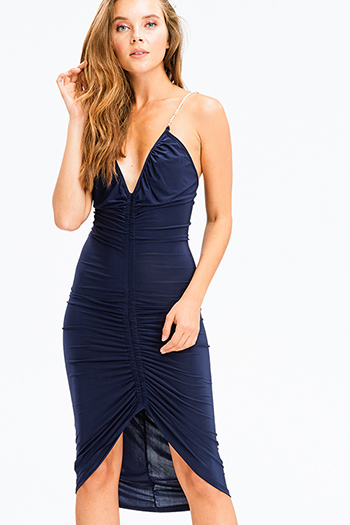 $15 - Cute cheap print sheer evening dress - dark navy blue v neck ruched front rhinestone embellished spaghetti strap fitted sexy club midi dress