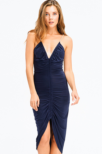 $12 - Cute cheap blue chambray ruffle dress - dark navy blue v neck ruched front rhinestone embellished spaghetti strap fitted sexy club midi dress