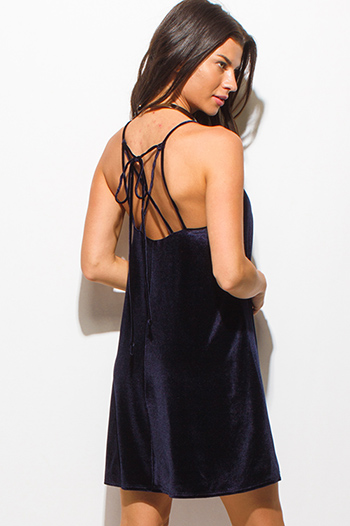$15 - Cute cheap black ruffle mini dress - dark navy blue velvet sleeveless criss cross back cocktail sexy party swing mini dress