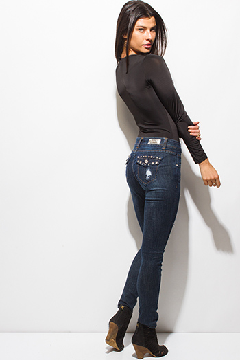$20 - Cute cheap dark navy blue washed denim distressed bejeweled fitted mid rise skinny jeans