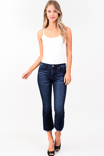 $20 - Cute cheap blue sexy party catsuit - dark navy blue washed denim mid rise frayed hem ankle flare jeans