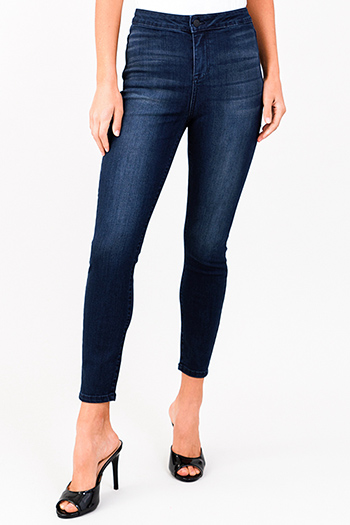 $20 - Cute cheap blue washed denim low rise pearl studded distressed frayed chewed hem boho skinny jeans - dark navy blue washed denim plain front high rise ultra sculpt fitted skinny jeans