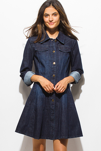 $20 - Cute cheap open back fitted midi dress - dark navy blue washed denim quarter sleeve button up a line midi dress