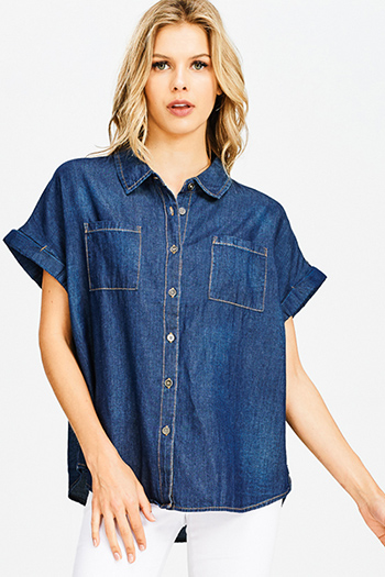 $12 - Cute cheap peach pink denim mid rise ripped knee skinny fit ankle jeans - dark navy blue washed denim short sleeve button up boxy chambray blouse top