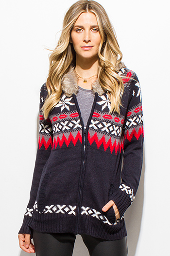 $15 - Cute cheap lace long sleeve tunic - dark navy blue winter ethnic print long sleeve hooded zip up sweater knit jacket