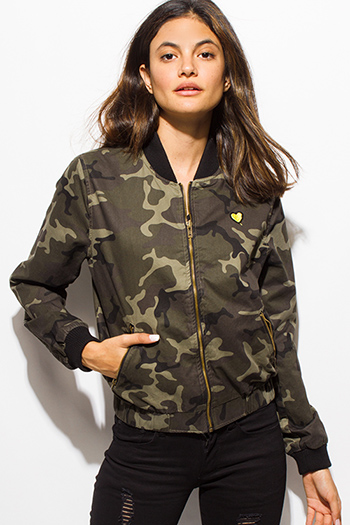 $20 - Cute cheap dark olive green army camo print long sleeve embroidered bomber jacket