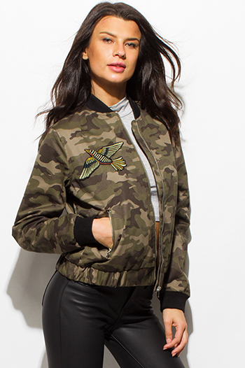 $20 - Cute cheap black zip up stripe banded crop bomber jacket - dark olive green army camo print long sleeve embroidered zip up bomber jacket