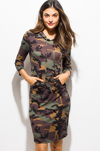 $15 - Cute cheap career wear - dark olive green army camo print quarter sleeve hooded sweatshirt midi dress