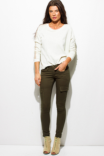 $15 - Cute cheap career wear - dark olive green denim mid rise cargo fitted skinny jeans